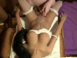 Fucking doll in wedding lingerie