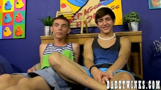 Naughty twink bottom rides his big cocked friends dick Facials cock