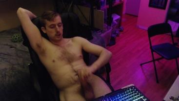 Huge uncut cock jerk off on cam (no cum)