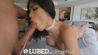 LUBED FAT ASIAN PUSSY takes an OILED UP POUNDING Cowgirl vlog