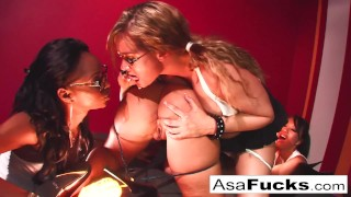 Four girl fun with Asa, Mason, Marie, and Tory porno