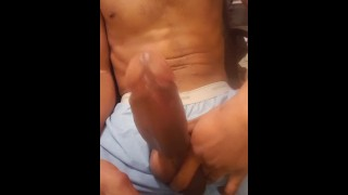 BBC leaking precum solo stroke huge cumshot hits the camera