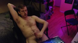 Gamer stud playing with huge uncut cock, sexy hairy boy