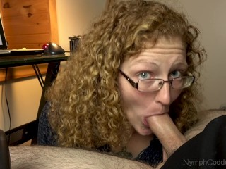 Boy Creampies Mom Hubby cums in natural redhead Ivy s mouth on a work break blowjob