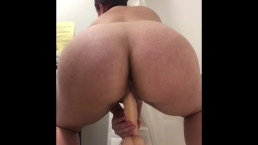 Bouncing my ass on my dildo before and after my shower