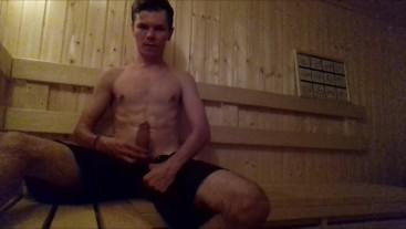 Hot guy in the sauna