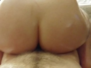 Hogtied and vibed incredible blowjob followed by reverse cowgirl while doing splits in hotel, big cock mom point of view pov reverse cowgirl