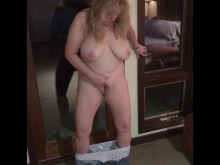 Naughty Wife Pulls Down Her Jeans & Panties and Masturbates While Standing