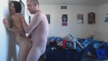 Hot MILF pushed up against wall and fucked from behind