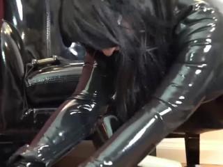 Tickled Gimp Pees video: Gimp tickled until he pees himself