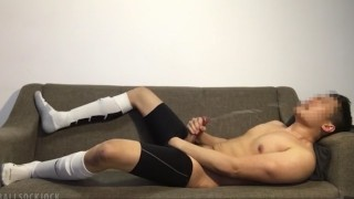 Football Jock Post-game Jerkoff: Cums Huge Load