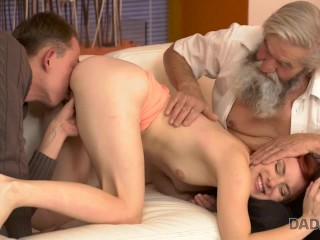 DADDY4K Old pervert thrusts his fingers into snatch of pretty chick