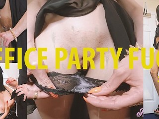 Office Party Babe sneaks out to get her panties FILLED with cum (CAUGHT) #1