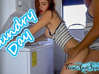 Step Sister Gets Fucked in Laundry Room and Cum on her Tits Teen And Squirt