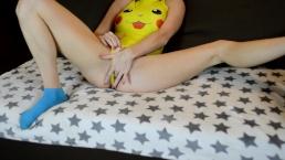 Teen masturbates in pokemon swimsuit
