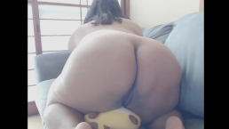 BBW rides teddy bear