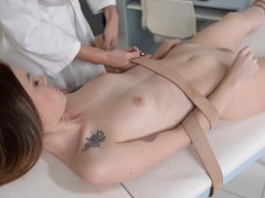Sadistic lady doctor Kayla Green binds & spanks subby patient Misha Cross
