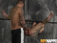 Bound twink butt pounded on the sex swing by dominant guy