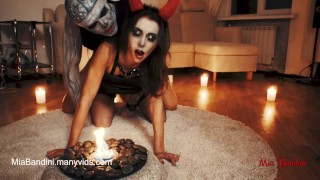 Horny Devil fucked Skeleton. Halloween with Mia Bandini