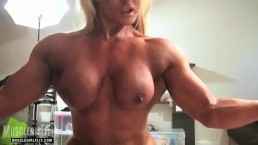 Nude Female Bodybuilder Sissoring Her Huge Legs