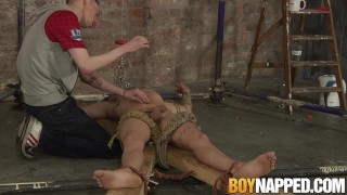 Restrained twink receives blowjob and handjob from master Big amateur