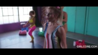 GIRLCORE Aerobics Class Leads to Lesbian Squirting Orgy!