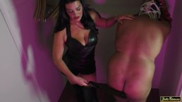 NYC Mistress Cassandra Femdom Spanking Paddling in Leather