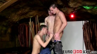 Raw threesome going deep and wild with horny twinks
