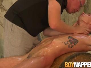 Lanky twink Max London tied up before big dick cumshot