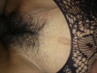 Hairy pussy housewife is fucked in lingerie body