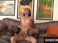 Mature Asian Slut Lucky Starr Pleasures a Guy with Her Mouth and Twat