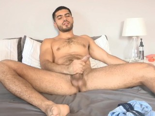 Angel fingers his ass & jacks his long, thick cock