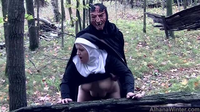 Slut evil nund Demon fucks and seeds blaspemous smoking nun - front angle halloween treat