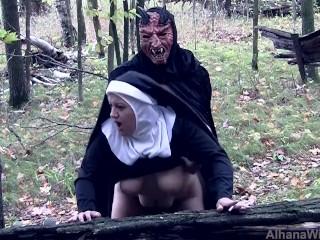 Demon Fucks and Seeds Blaspemous Smoking Nun - Front Angle Halloween Treat