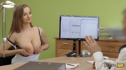 LOAN4K. Agent gives credit to hottie thanks to her immense boobs
