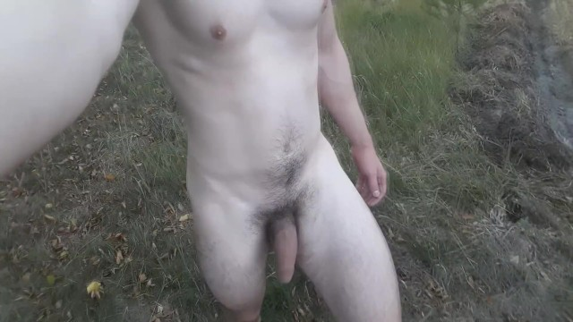 Off-road naked - Nude walk near the road followed by cumshot
