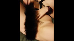pussy play with fox tail buttplug
