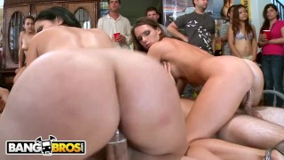 BANGBROS - Jennifer Dark, Jada Stevens, and Diamond Kitty Drop By The Party Cowgirl time