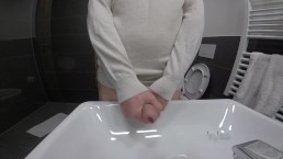 Jay lane having a quick play and cumming in the sink