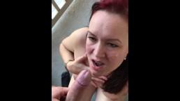 Balcony blowjob and cumshot