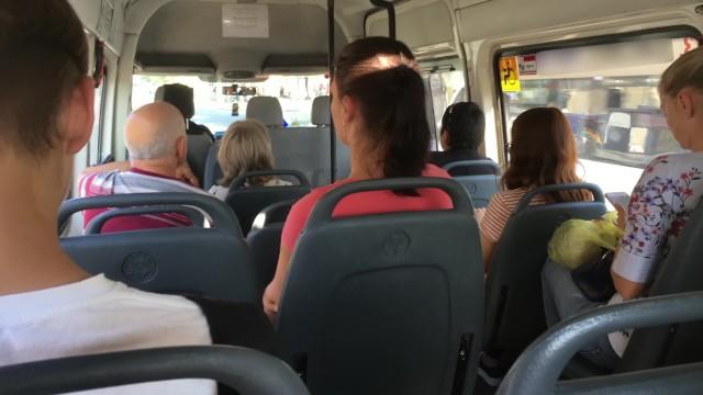 Real Public Quickie Handjob in Mini Bus, she like It!