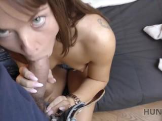 HUNT4K. Slut rides strangers phallus while cuckold watches this