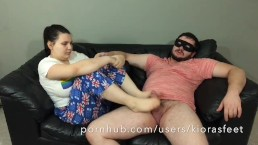 Feet in Face HJ & Footjob from Teen in Pyjamas