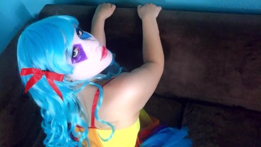 Crazy Clown Kiwwi blows on balloons and dick! Can I make your cock POP!?
