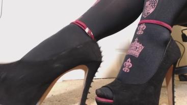Ballkicking Spiked Heel Stocking Tease