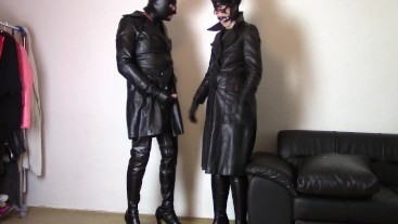 Sunday in leather coats: Change roles and cum on my coat