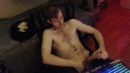 hot young stud likes having people watch him jerk off on webcam, big uncut