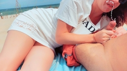 Risky Public Beach Pussy Flashing & Blowjob Cumshot | Redhead White Dress