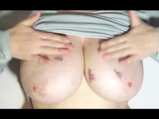 i play with my natural boobs after my BF suck them