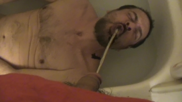 Chocolate syrup and piss poured into horny piss faggots mouth ha ha ha ha
